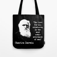 darwin Tote Bags featuring Darwin by PsychoBudgie