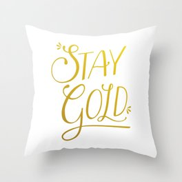 """Stay Gold"" Modern Calligraphy/Typography - Minimal Gold & White Throw Pillow"