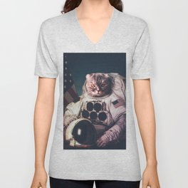 Beautiful cat astronaut Unisex V-Neck
