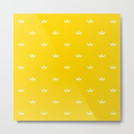 White Crown pattern on Yellow background Metal Print