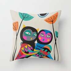 Owls hugging Throw Pillow