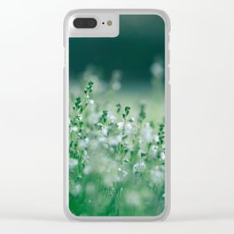 Misty view of dew on wild plants in the meadow Clear iPhone Case