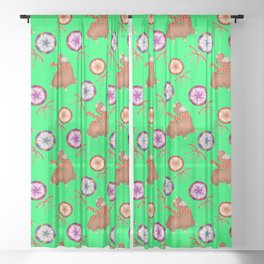 funny baby llamas, sweet vintage retro lollipops candy cute Christmas pattern Sheer Curtain