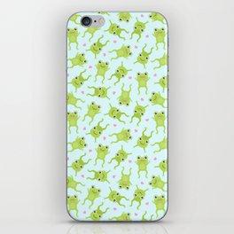 Kawaii Happy Frogs on Blue iPhone Skin