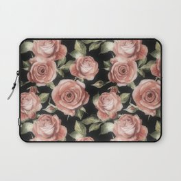 Classic Pink Roses On Black Laptop Sleeve