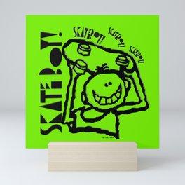 Skate Boy in green Mini Art Print