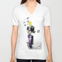 manchester V-neck T-shirts featuring Manchester Street FASHION by Anca Pora