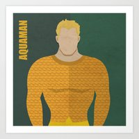 aquaman Art Prints featuring Aquaman by Loud & Quiet