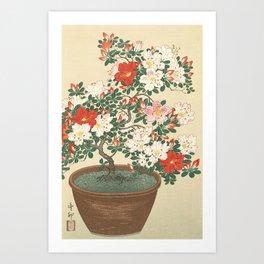 Vintage Azalea Japanese Woodcut Art Print