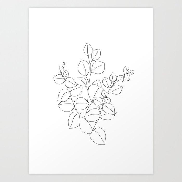 Minimalistic Eucalyptus  Line Art Art Print
