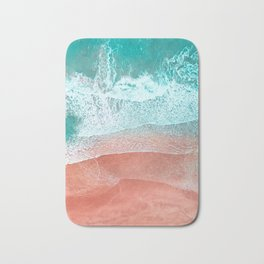The Break - Turquoise Sea Pastel Pink Beach II Bath Mat