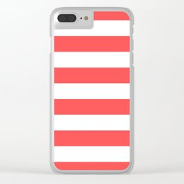 Coral Stripes Clear iPhone Case