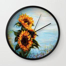 Sunflowers! Where Ocean meets Sky Wall Clock