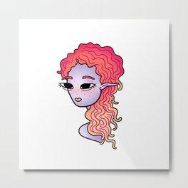 alien head illustration Metal Print