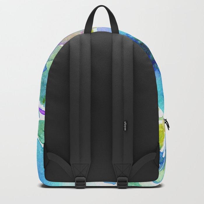 Bloom in blue #2 || watercolor Backpack