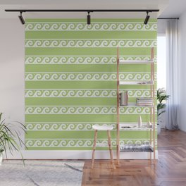 Green and white Greek wave ornament pattern Wall Mural
