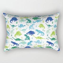 Watercolor Dinosaur Pattern White Green Blue Rectangular Pillow