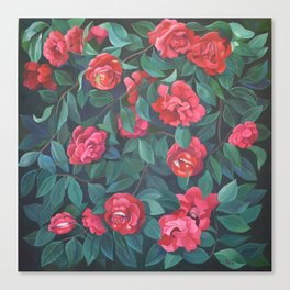 Camellias, lips and berries. Canvas Print
