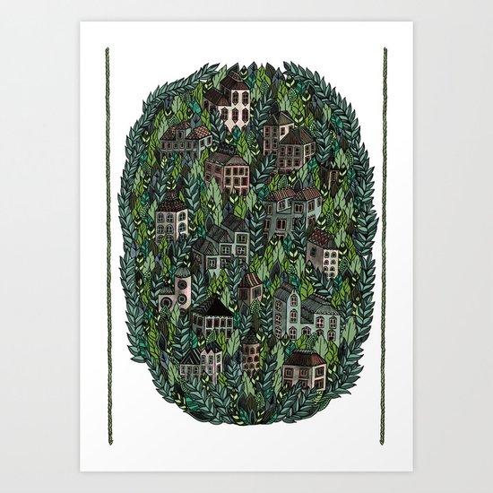 Little Forest Town Art Print