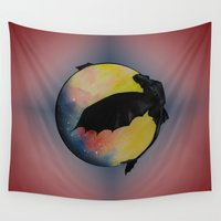toothless Wall Tapestries featuring Toothless by Emilee's Fine Art
