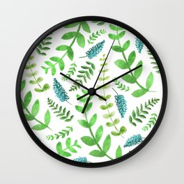 Greenery Leaves Pattern Wall Clock