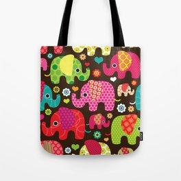 Retro Elephants Tote Bag