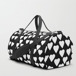 Hearts White on Black Duffle Bag