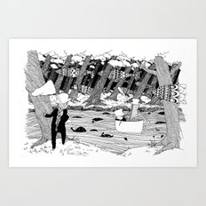 Traveling through the forest in the cup Art Print