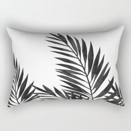 Palm Leaves Black Rectangular Pillow