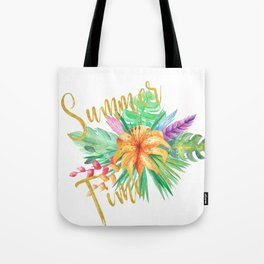 Tropical leaves and flowers summer time gold brush script Tote Bag