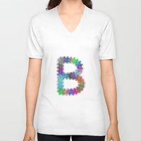 letter V-neck T-shirts featuring Letter B by David Zydd