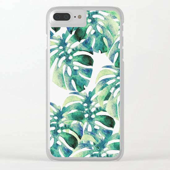 Monstera Pattern Green Clear iPhone Case