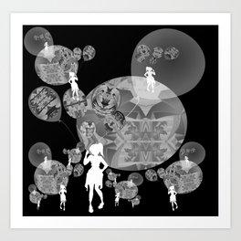 Black and White Surreal Balloon Girl Art Print