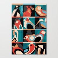 calendar 2015 Canvas Prints featuring Geometric Bird 2015 Calendar by Marcella Caraballo