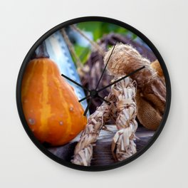 Pumpkin with straw rope Wall Clock