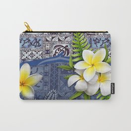 Blue Hawaiian Tapa and Plumeria Carry-All Pouch