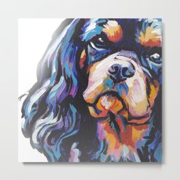 black and tan Cavalier King Charles Spaniel Dog Portrait Pop Art painting by Lea Metal Print