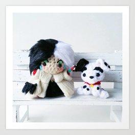 Cruella De Vil and Dalmatian Puppy Art Print