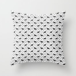 Cute Black Scottish Terriers (Scottie Dogs) & Hearts on White Background Throw Pillow