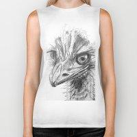ostrich Biker Tanks featuring Ostrich  by Juliette Caron