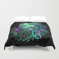 pacific rim Duvet Covers featuring Pacific Retro by Don Lim