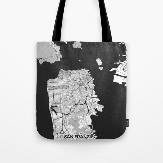 San Francisco Map Gray Tote Bag