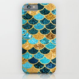 Glitter-Bling Blues, Aquas, & Gold Mermaid Scales iPhone Case