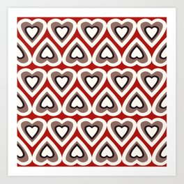 Strawberry and Chocolate Cream Love Hearts Art Print