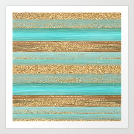 Turquoise Brown Faux Gold Glitter Stripes Pattern Art Print