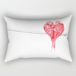 Red Heart Birds Love Rectangular Pillow