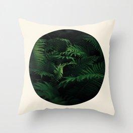 Fern Plant Against Black Background Round Frame Photo Throw Pillow