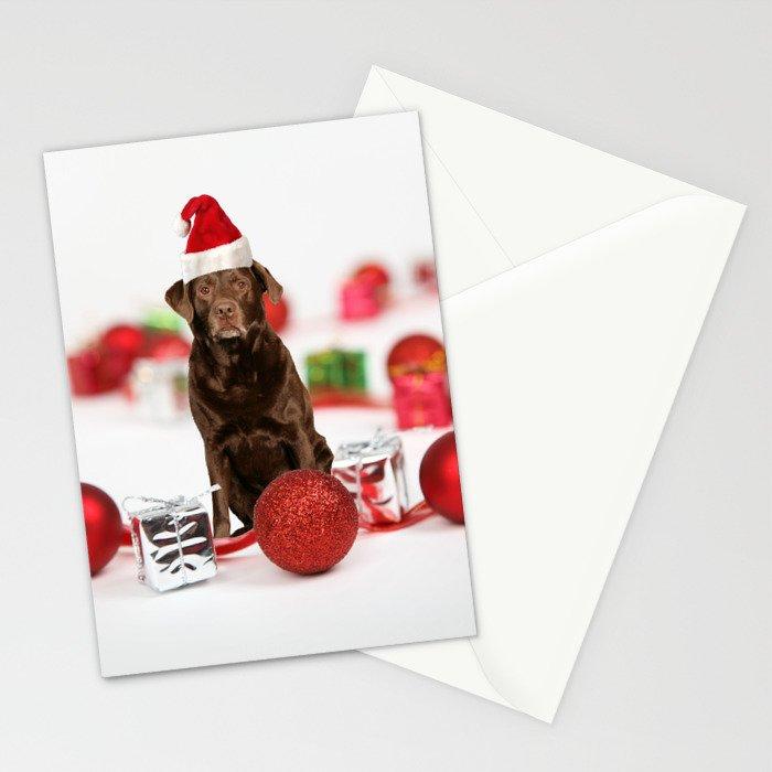 Labrador Dog Christmas w Gifts Santa Hat Stationery Cards