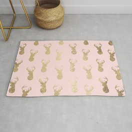 Modern faux gold deer head pattern on blush pink Rug