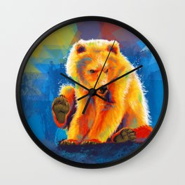 Play with a Bear - Animal digital painting, colorful illustration Wall Clock